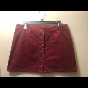 Dresses & Skirts - Maroon corduroy mini skirt